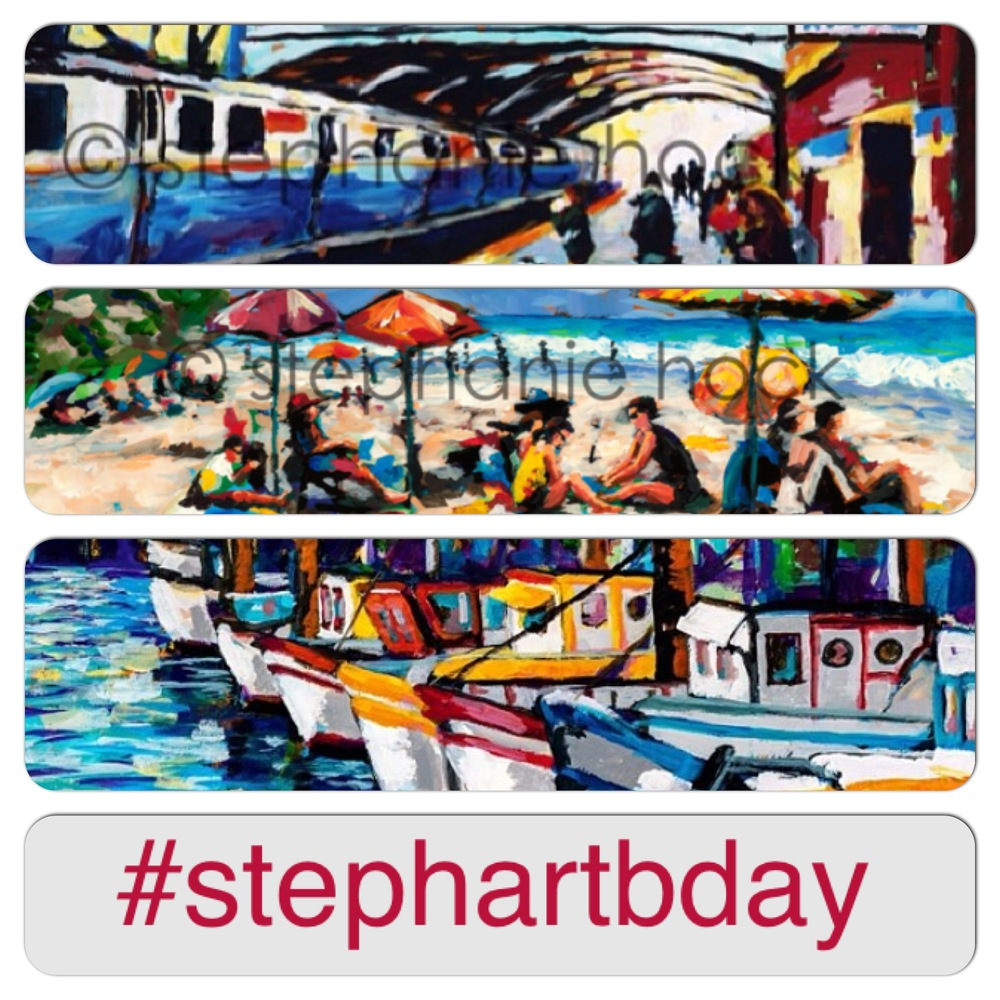 A week from today is my birthday! To celebrate, I'm having a giveaway for you! Your choice of an 8x10 print of one of the above three paintings.  You have two chances to enter. First, follow  Stephanie Hock Fine Art  on facebook and share the giveaway post.  Second, follow @stephaniehockart on Instagram and repost that giveaway post with the hashtag #stephartbday and @stephaniehockart.  You may enter as many times as you want until next Thursday 8/7 at noon MST. I'll announce a winner in each place that afternoon. Good luck!