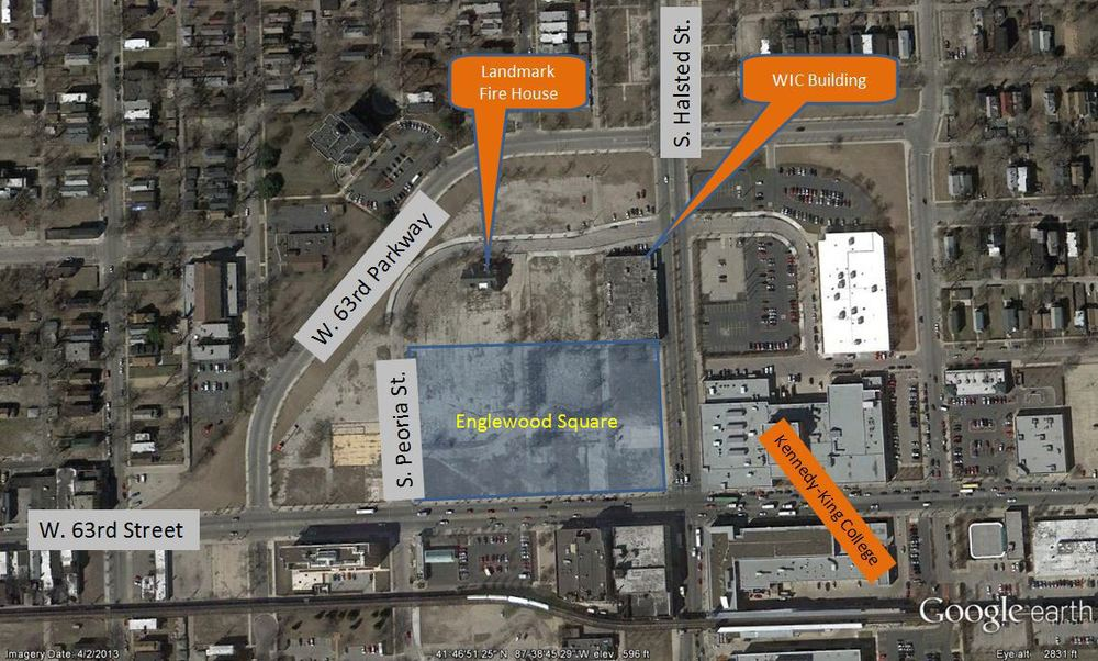 The Englewood Square retail development is highlighted within the larger 13 acre development, bounded by Halsted, 63rd Street, and W 63rd Parkway.