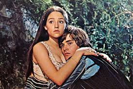 "Olivia Hussey and Leonard Whiting in Franco Zeffirelli's film of ""Romeo and Juliet."""