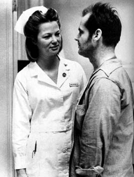 Louise Fletcher as Nurse Ratched and Jack Nicholson as R.P. McMurphy