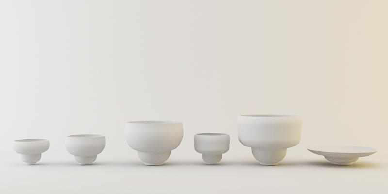 Estas seis piezas se presentarón como prototipo para la propuesta.