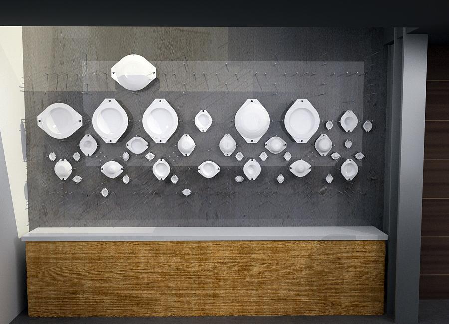 La estructura esta modulada para distribuir los platos de más chico - la parte de abajo - a más grande - la parte de arriba - de modo que sea interactivo y funcional.