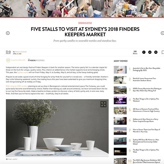 Thank you to the guys at @concreteplayground for naming Hayden Youlley Design as one of the top 5 stalls to visit at Finders Keepers this weekend!! So humbling to be in a line up that includes fantastic food, design and art work by @youmeandbones, @varietyhour_, @tsurufoodtruck and @injalakarts See you at The Cutaway, Barangaroo Reserve from this Friday 4th - Sunday 6th May! 2 more sleeps!!😍😉