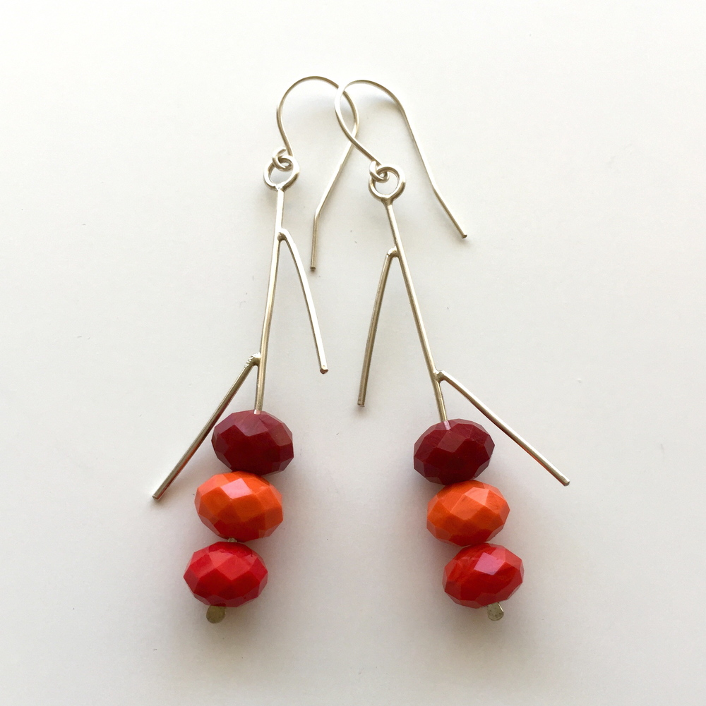 Sterling silver earrings with stone beads
