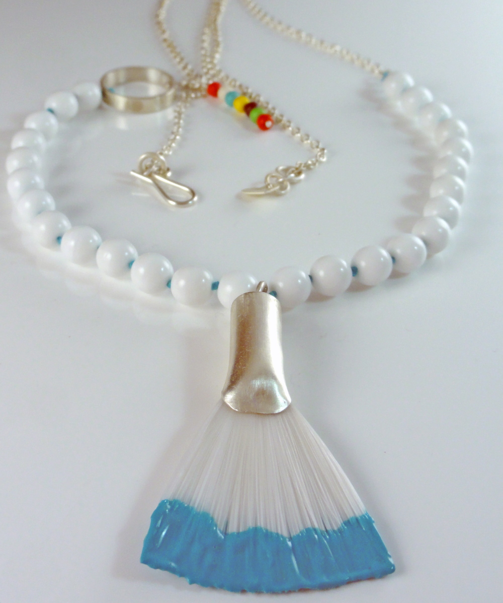 Sterling silver Brush necklace with glass beads
