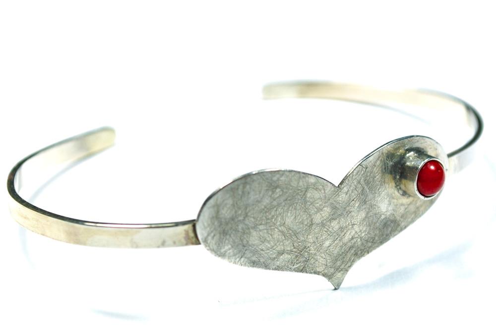 Sterling silver bracelet, coral