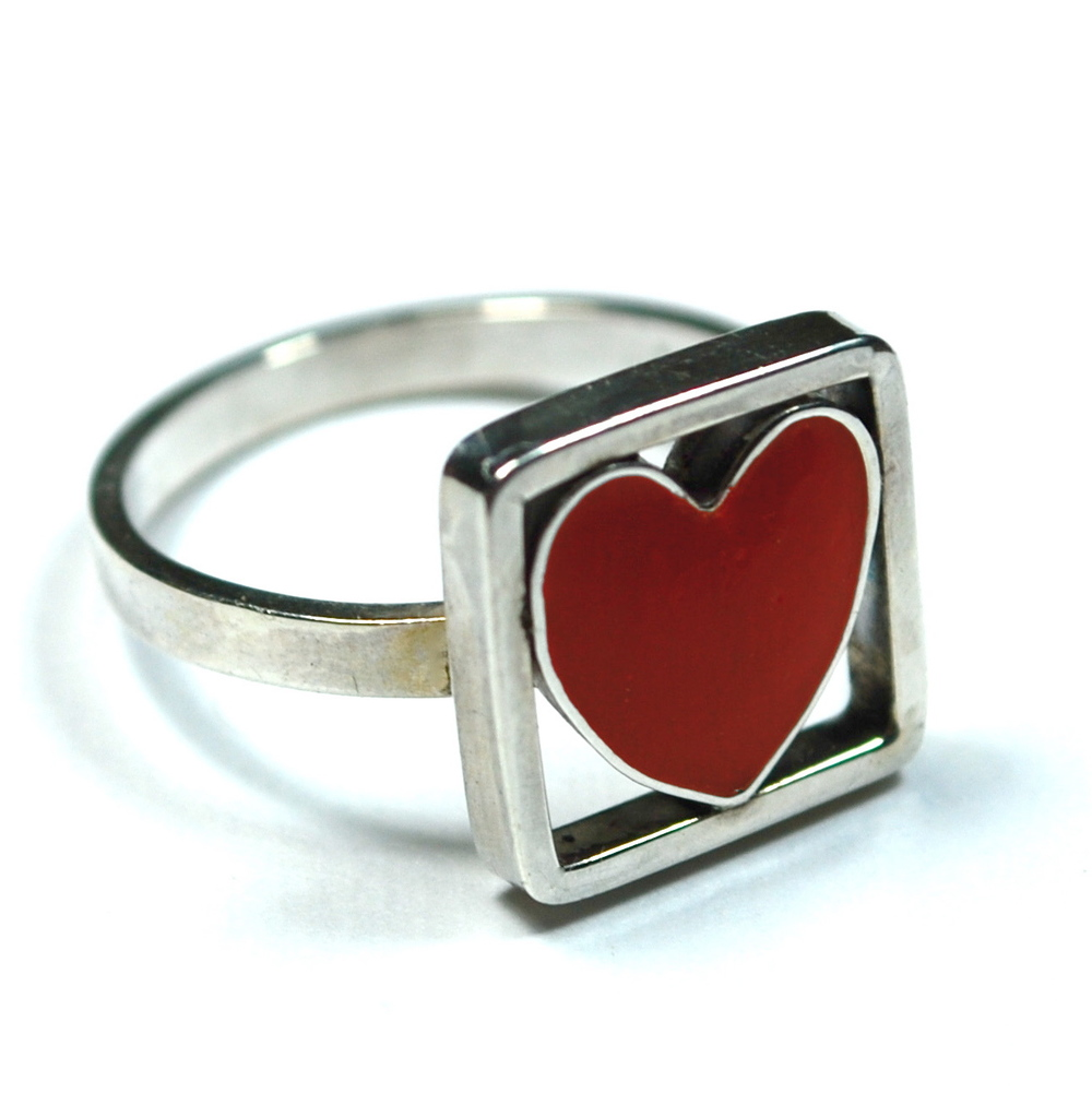 sterling silver ring with enameled heart