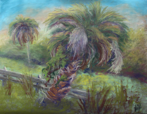 """""""Shaggy Palm Too"""", pastel"""