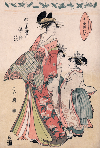 Courtesan Somonosuki with attendants
