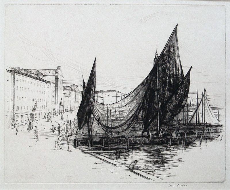 Loren Roberta Barton.  Venetian Sails.  Drypoint, circa 1925.  $250.00