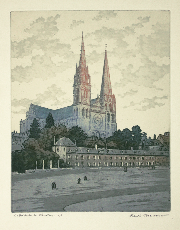 Henri Meunier.  Cathdrale de Chartes. Color aquatint, circa 1910.  $300