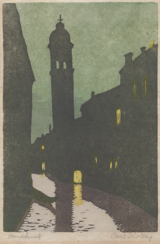 Carl Rotky.  (Leaning belfry tower, Venice).  Color linocut, circa 1915.  $300