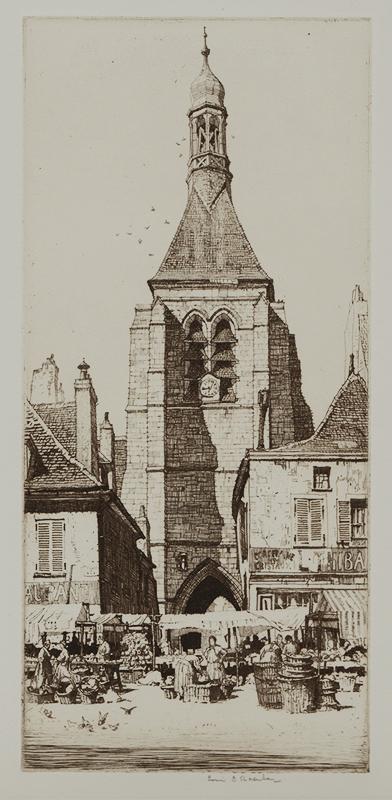 Louis Rosenberg.  Notre Dame de Provin.  Etching, circa 1930.  $200