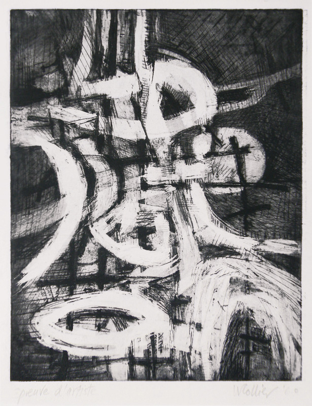 Will Collier.   Untitled Abstraction.  Mixed technique intaglio, 1960.  $300
