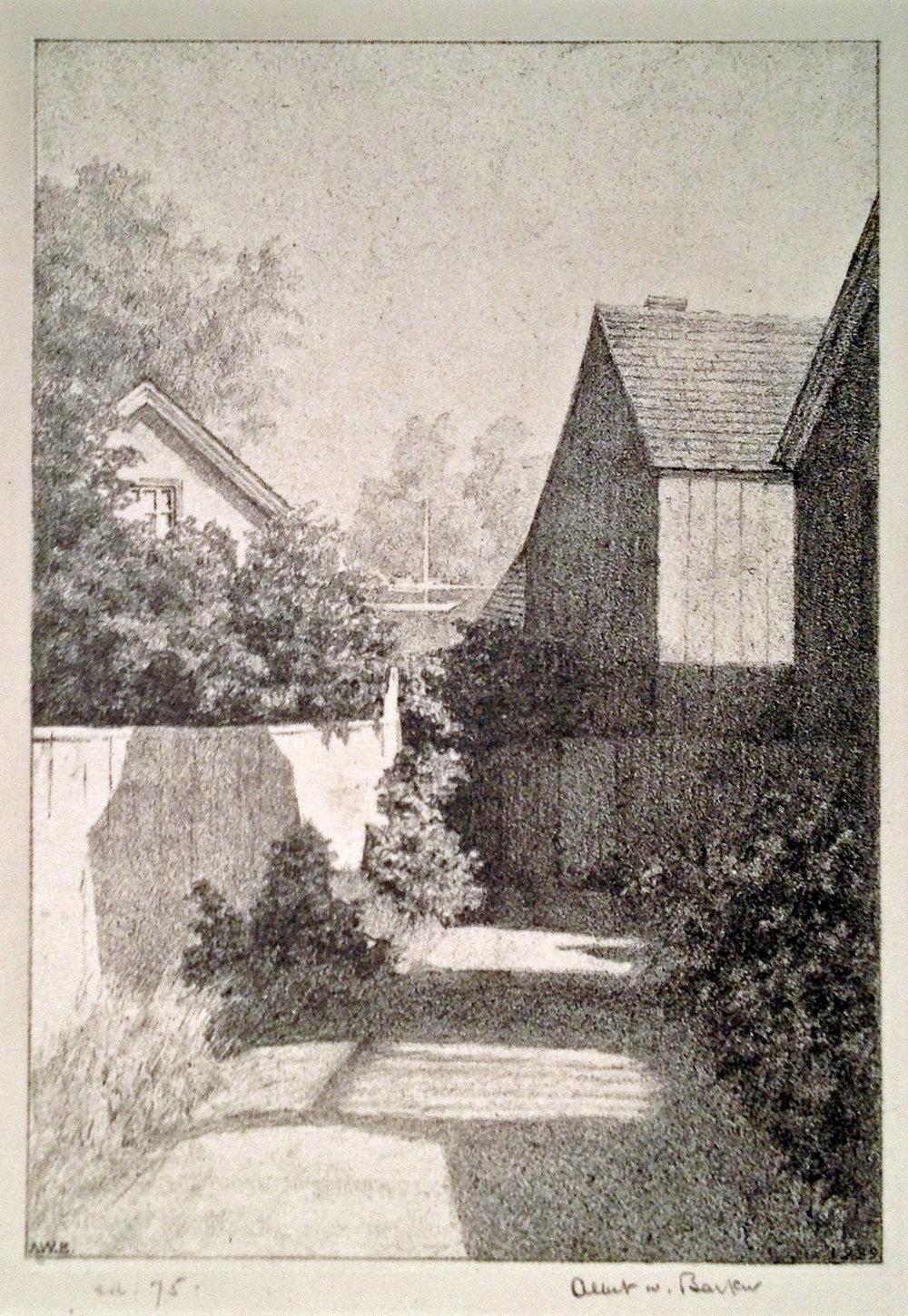 Albert Barker, Annisquam Lane, Lithograph. $275