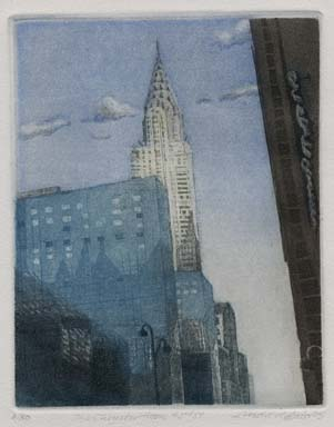Linda Adato, The Chrysler from 42nd St., Color etching and aquatint, 2005. $300