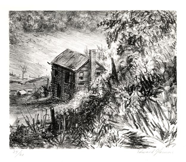 Edward Glannon, Abandoned Farmhouse, Lithograph, 1976.  $225