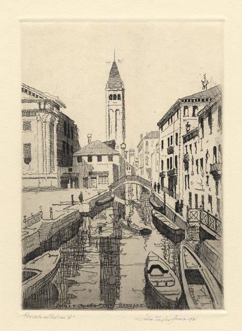 John Taylor Arms, Canale E Chiesa, San Barnaba, Venezia (sketch), Etching, 1931.  $250