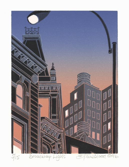 Emily Trueblood, Broadway Lights, Color linocut, 2016.  $275