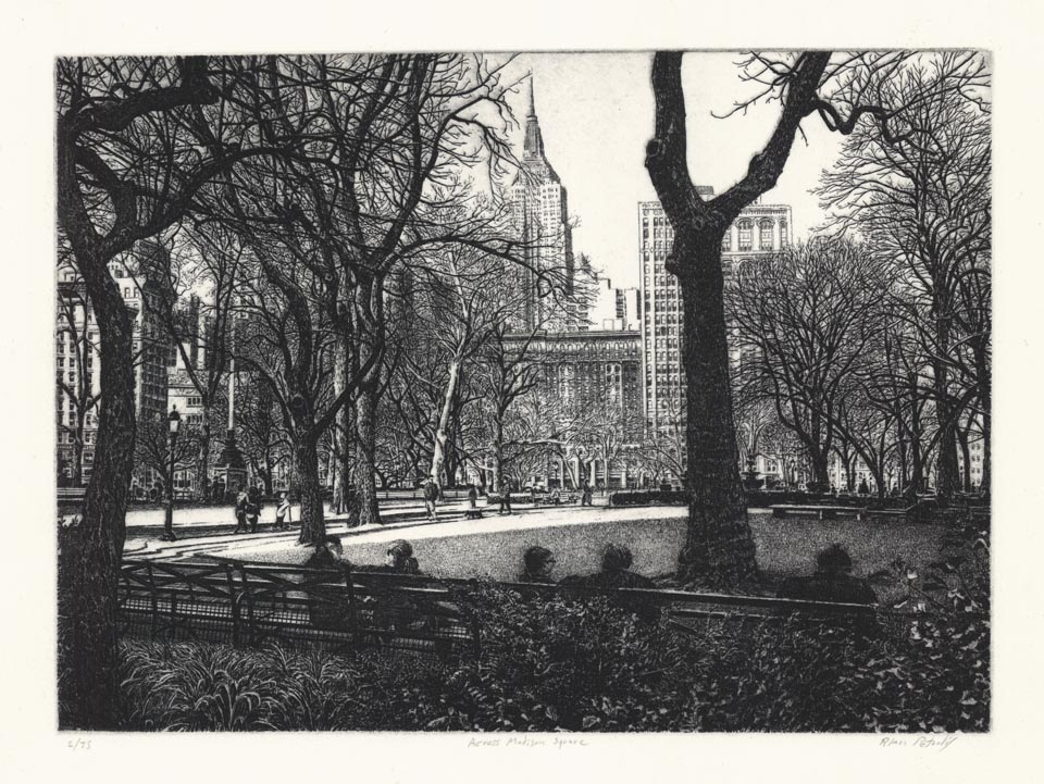 Alan Petrulis, Across Madison Square, Etching, 2016.  $225