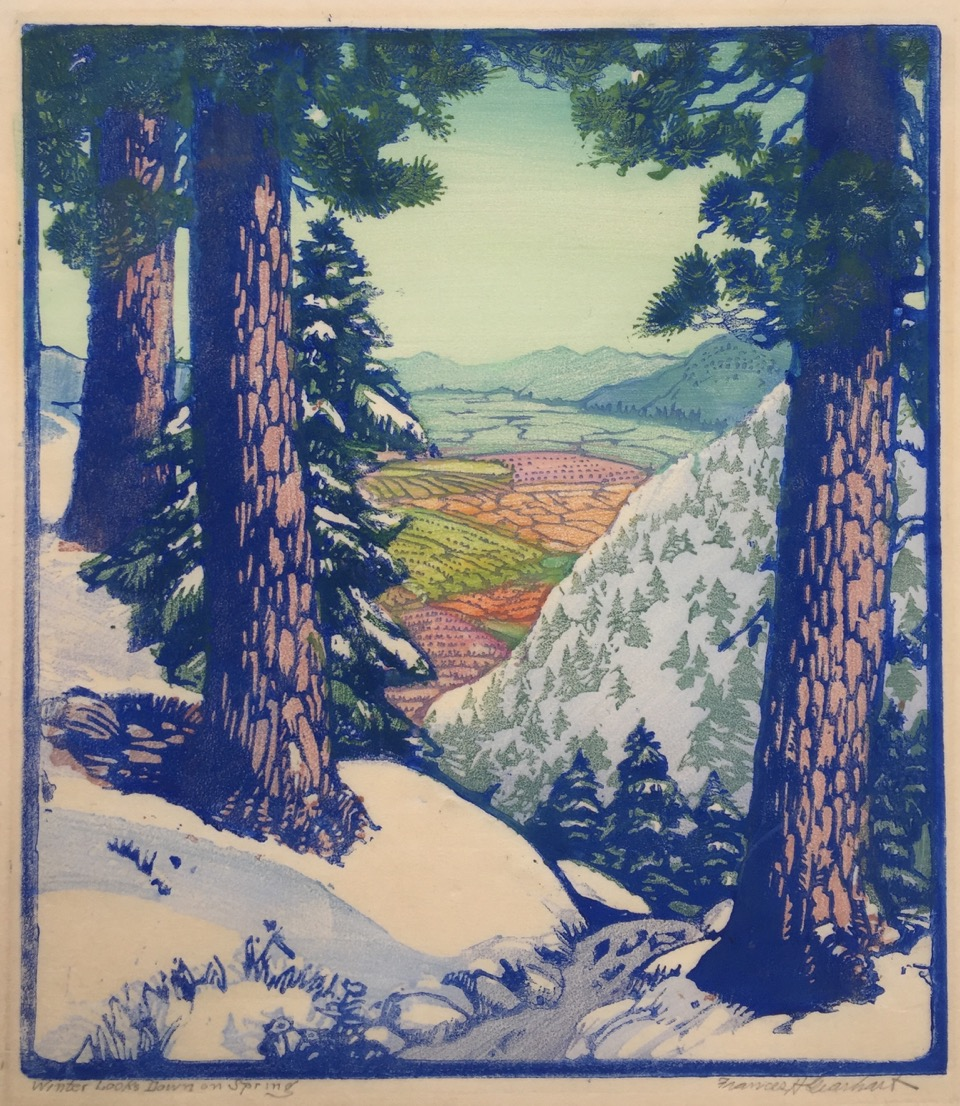 "Frances H.Gerhart ""Winter looks Down on Spring"" c. 1932 color block print 11 3/4 x 10"