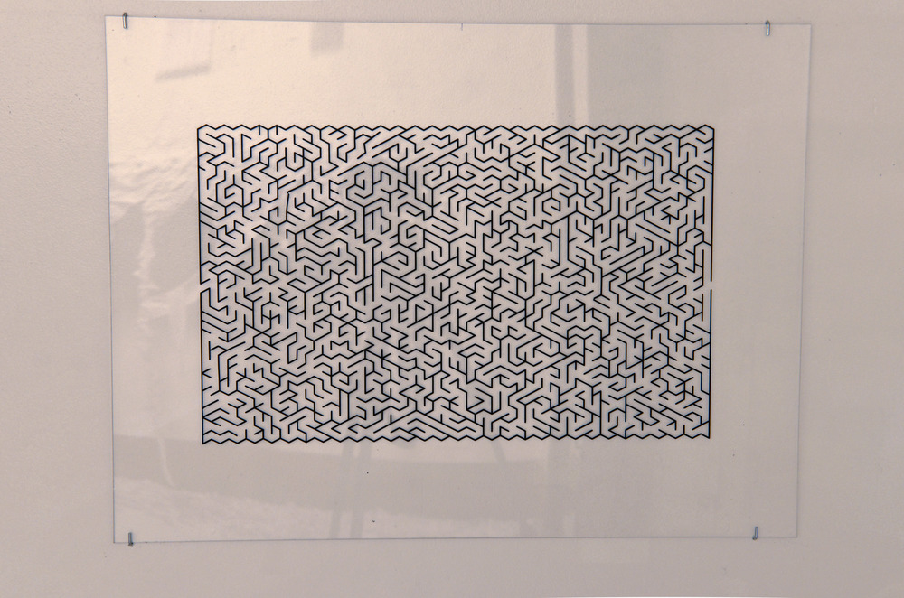 Maze 1. Vinyl on plexi-glass. 18x24. Price upon request.
