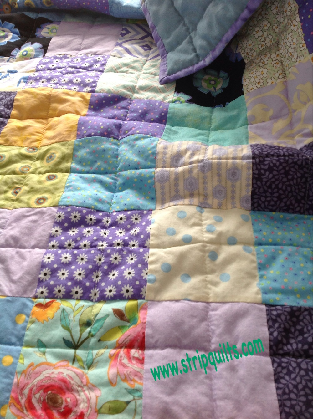 I washed this quilt in cold water and fabric softer anxious to see the soft puckered effect.