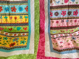 Sister Quilts These two quilts are offered as a set and are perfect for sisters or twin girls. They are made of flannel and are billowy soft measuring 36 x 51.