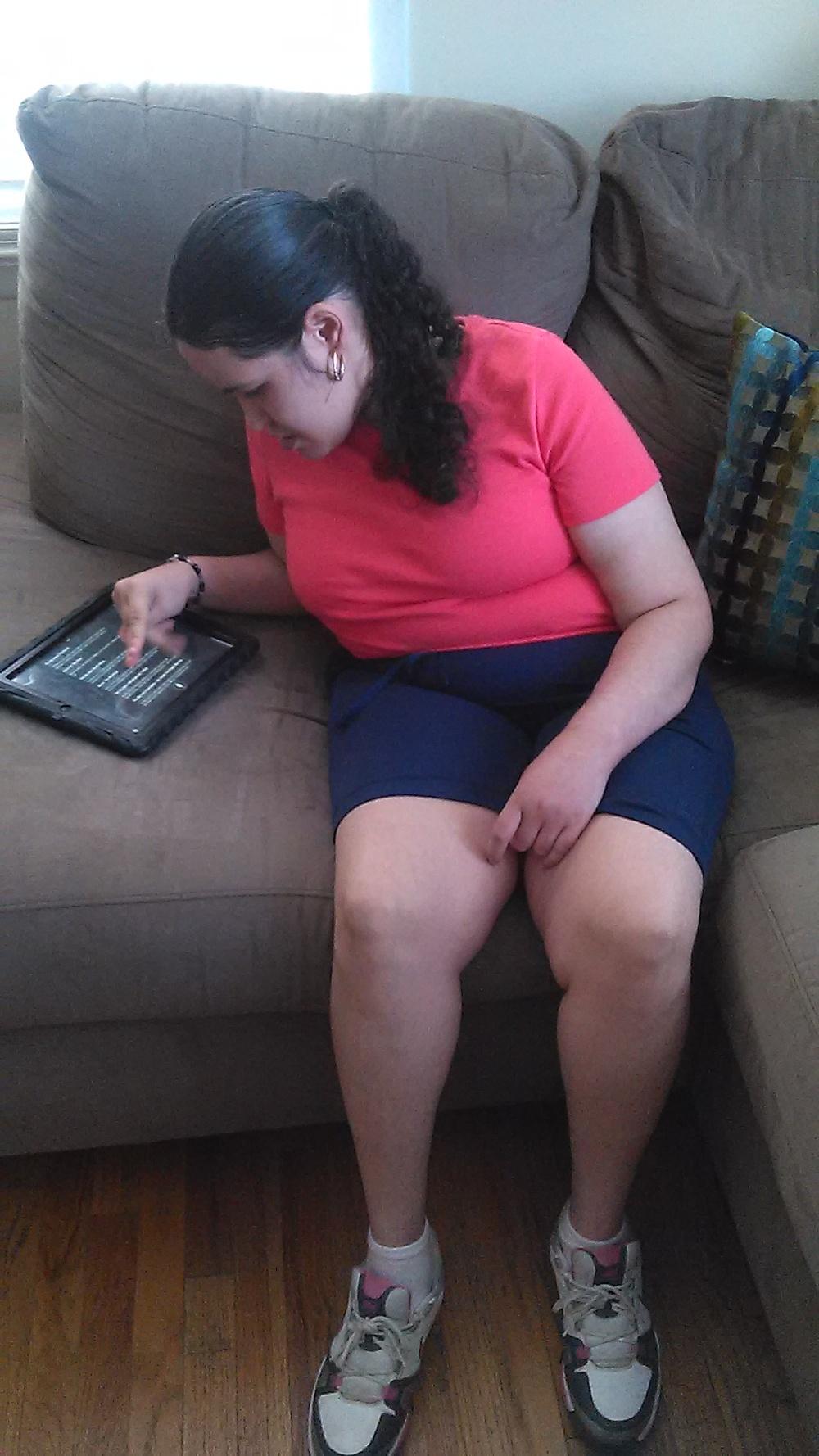 Jessica is another recipient of receiving an iPad this past May. Jessica lives in a home through Community Options in York with a 2-1 ratio. When we first received Jessica's case, we heard reports of a lot of physical aggression, verbal aggression, and communication barriers as her first language is Spanish.  With Jessica receiving her iPad through Andrew's Gift, it has closed the communication gap between her and her staff. Staff are able to point to pictures on the iPad and Jessica is able to answer yes/no questions and whether or not she wants what they are pointing to. Jessica has enjoyed picking out items throughout her house that she wanted staff to add pictures of in ProloQuo. Jessica thoroughly enjoys working with staff on the iPad.