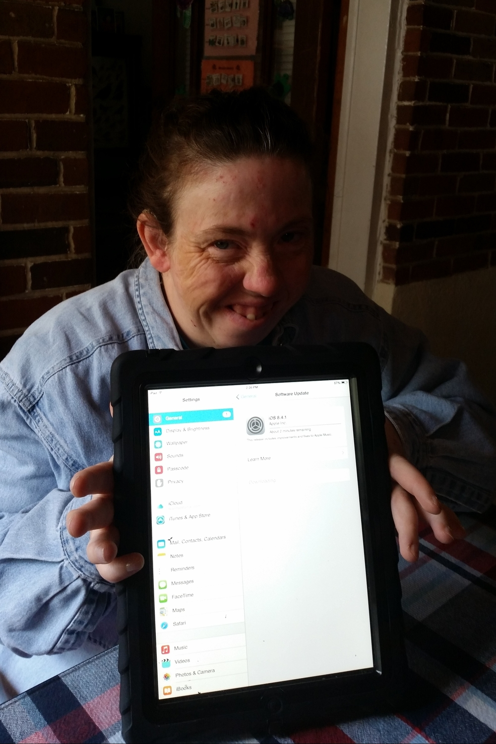 Manda received her iPad through Andrew's Gift this past May.  Before working on the iPad Manda worked on flash cards with Cornerstone. We reviewed flash cards that included places she goes, food she eats, and activities that she does. Manda is able to verbalize words but it is often difficult for people to understand her due to Manda dropping the first and last syllable of most words.  With the iPad, we transferred all the flash cards into ProloQuo. Now Manda is able to identify all the icons within ProloQuo. She now has the ability to use the iPad to help her with communicating with both her family and others in the community.