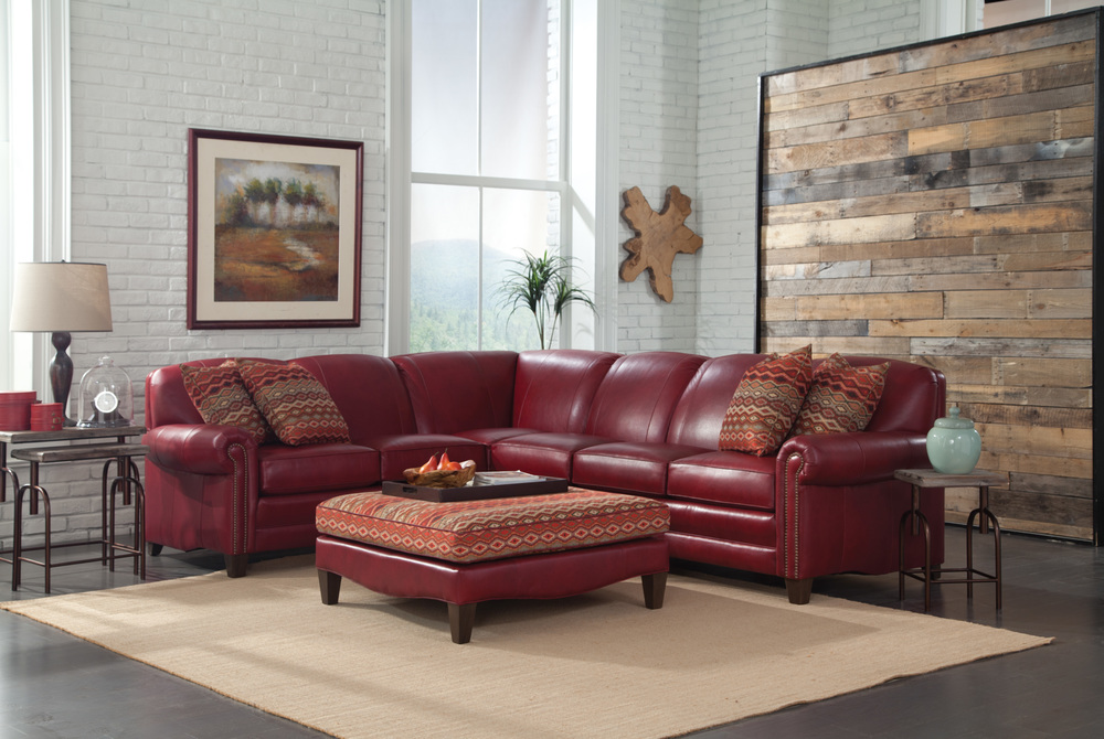 397 Sectional Leather Withpillows 1357 Ottoman