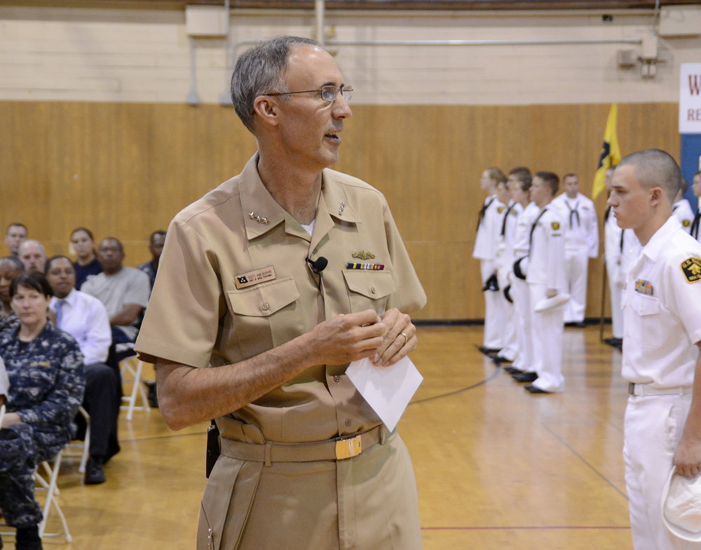 VADM Buskirk at a Sea Cadet all-hands call
