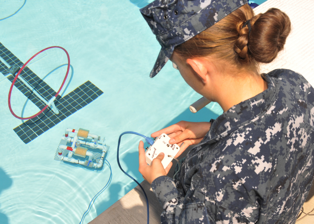 A cadet and her SeaPerch