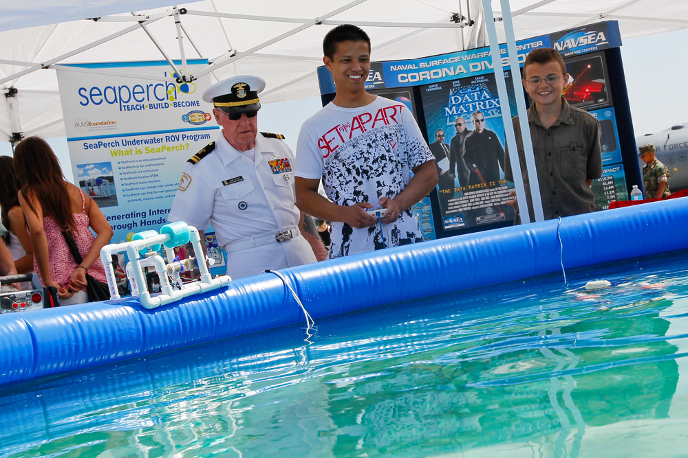 Sea Cadet Officer at a SeaPerch exhibit