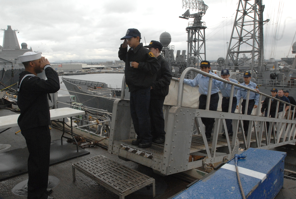 Sea Cadets board USS Cleveland