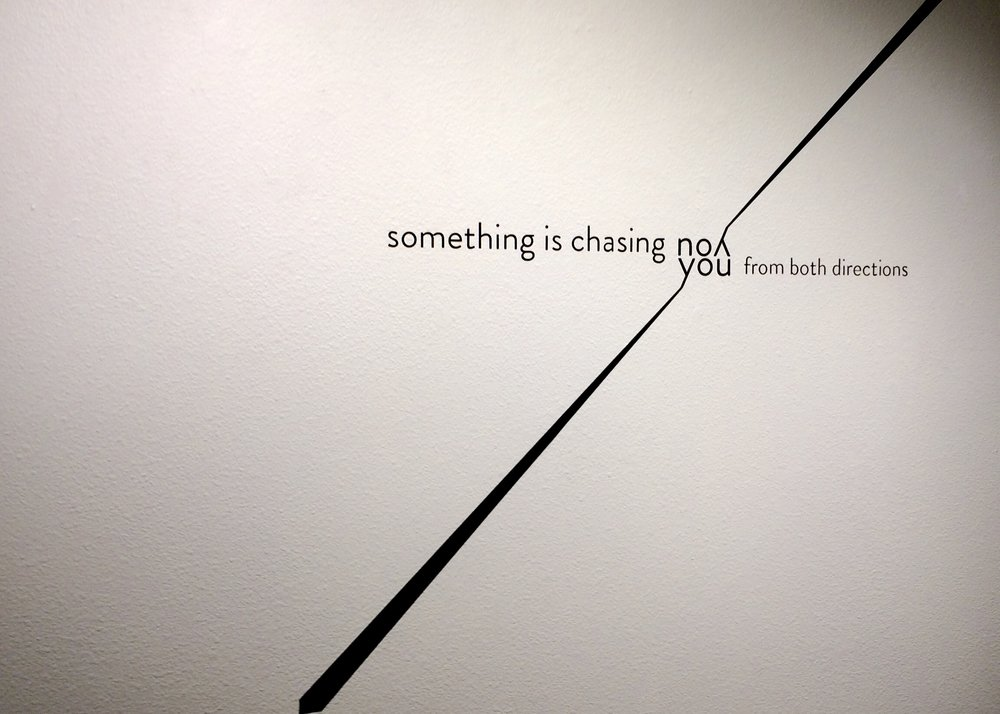 On exhibition - ARTARIANICA features it's first physical art piece in Colorado Springs, February 2019.Something is Chasing You is a digital drawing featuring lines as lines and lines of text as shapes and integrated physical elements.