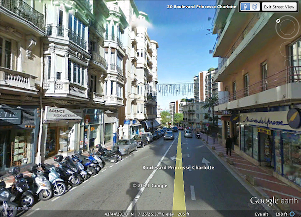 Boulevard Princesse Charlotte, Monte Carlo, Monaco. Screen capture using Google Earth.