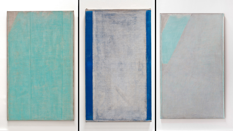 John Zurier.  Votilækur ,  Cold July , and  Finnbogi . 2014; Courtesy of the artist and Lawrence Markey Gallery, Peter Blum Gallery, and Gallery Paule Anglim, respectively