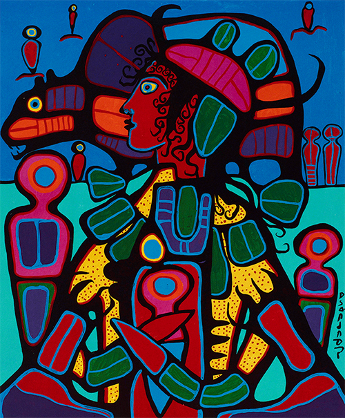 Norval Morrisseau. Bear Walker Society, 1992; screenprint. Courtesy of the Cantor Arts Center.