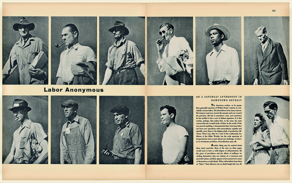 "Walker Evans, ""Labor Anonymous,"" Fortune 34, no. 5, November 1946."