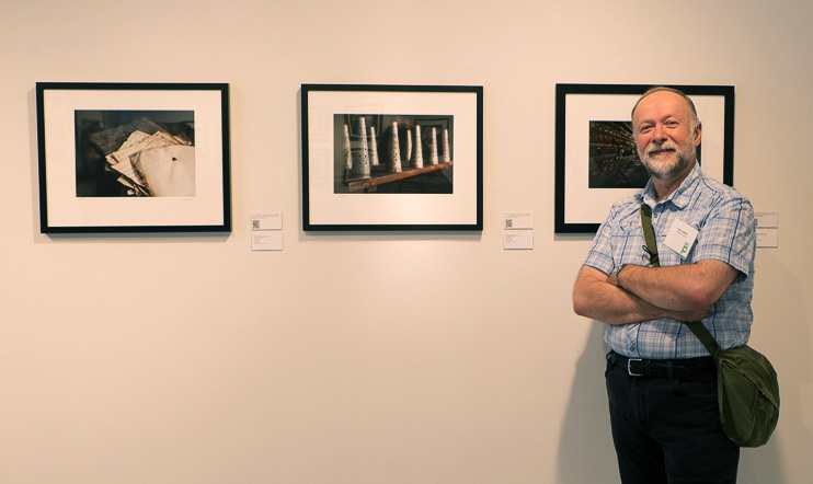 "On the gallery wall at the Houston Center for Photography - Juried Exhibition - Images from ""Thrown from the Past"""