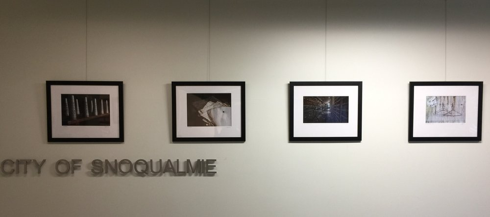 "On the wall at the  City of Snoqualmie City Hall  - Selected Works - Images from "" Thrown from the Past """