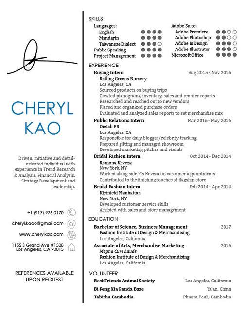 resume cheryl kao