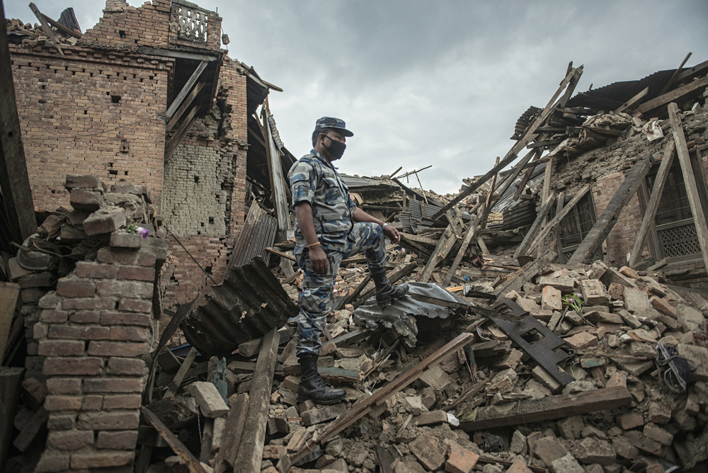 A rescue chief observes the operation in Bhaktapur, Nepal on April 27, 2015, following the massive earthquake that struck on April 25.