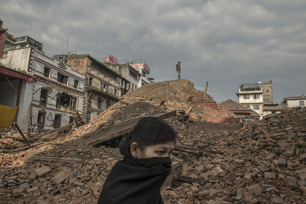 A collapsed temple in Kathmandu, Nepal, April 27, 2015.