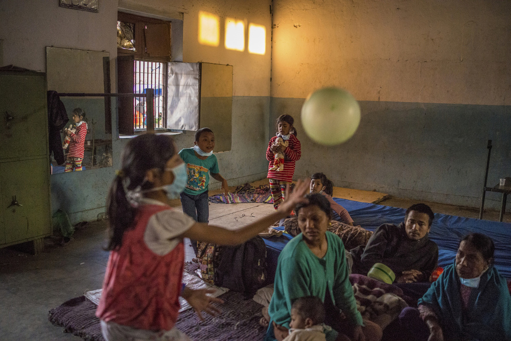 A gym is used as makeshift shelter in Bhaktapur, Nepal, April 29, 2015.