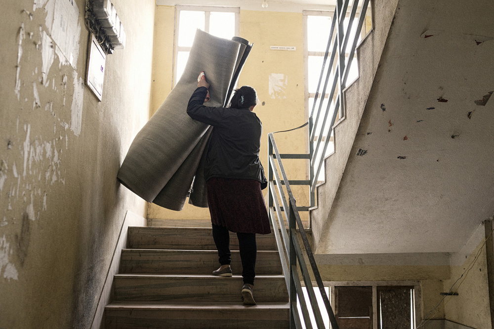 Tamar moves back into her house after 5 days since the earthquake, April 30, 2015.