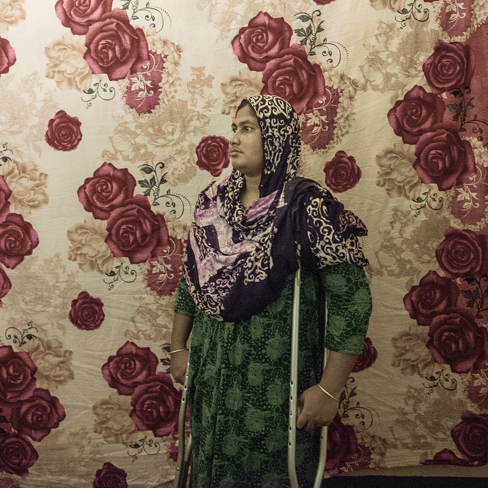 Mosammat Rehana Akhtar, originally from Jessore, migrated to Savar in hopes of bringing about change to her difficult life. She worked at New Wave Textile Limited on the 7th floor of Rana Plaza. In the horrific accident, her leg was buried and had to be amputated in order for her to survive.
