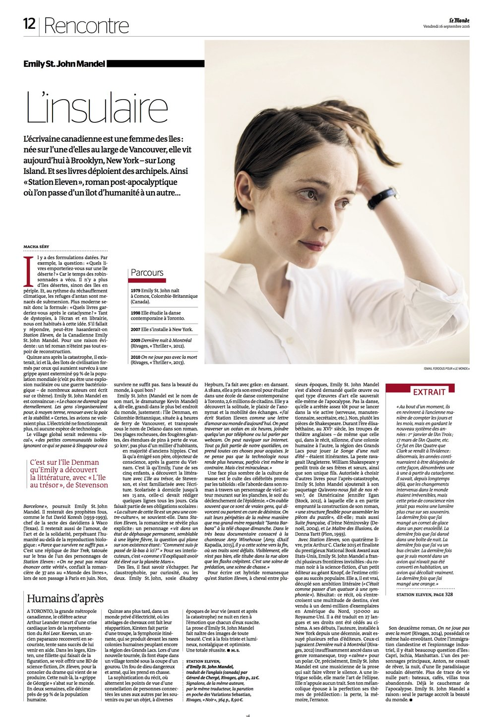 Emily St. John Mandel- Published in Le Monde