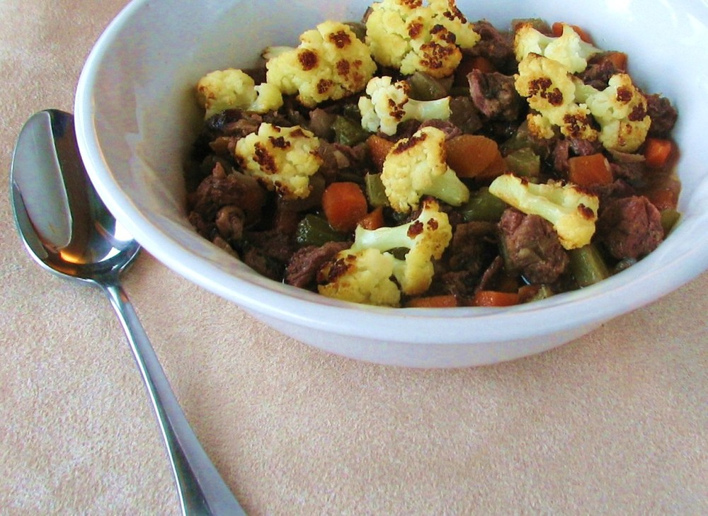 Slow Cooker Classic Beef Soup with Roasted Cauliflower